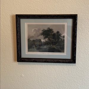 Framed lithograph of the old mill